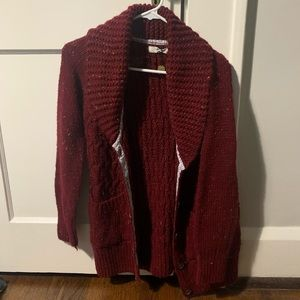 Anthro Isabella Sinclair Red Cableknit Cardigan